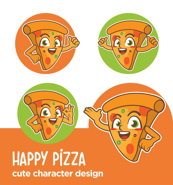Mascotte of stickerpizza-ontwerpen Premium Vector