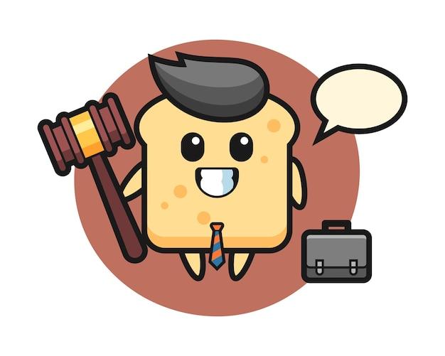 Mascotte van broodmascotte als advocaat Premium Vector