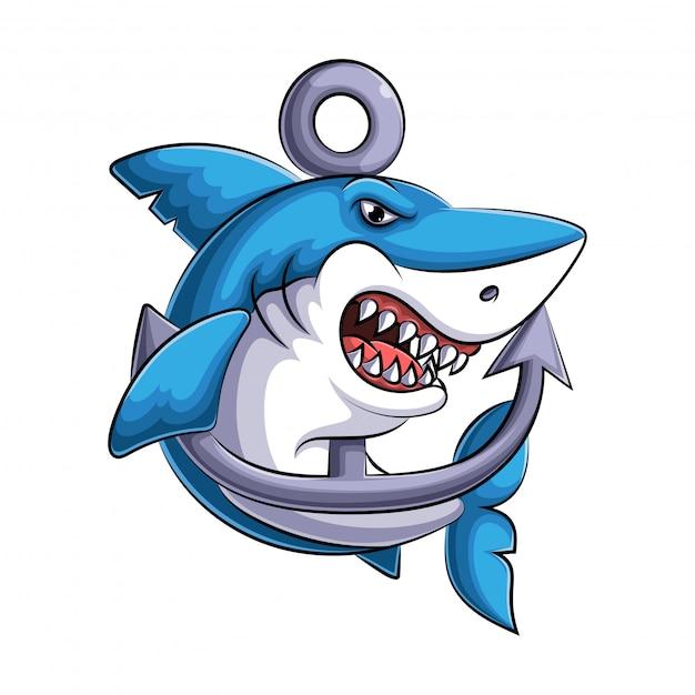 Mascotte van een boze haai illustratie Premium Vector
