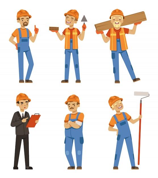 Mascotteontwerp van bouwers in verschillende houdingen Premium Vector