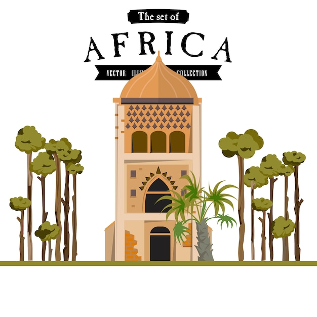 Masjid in afrikaanse stijl Premium Vector