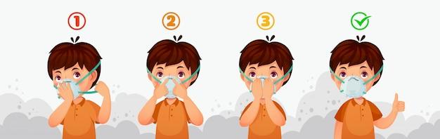 Mask n95 instructie. bescherming tegen luchtvervuiling door kinderen, stofbeschermende veiligheidsmaskers en pm2.5-verdedigingsillustratie Premium Vector