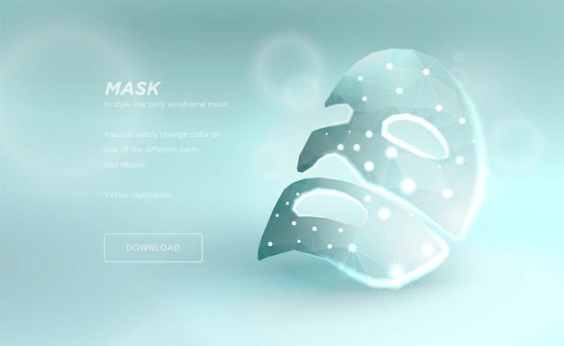Masker voor het gezicht, veelhoekig draadframe Premium Vector