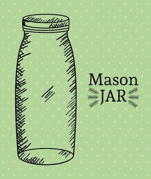 Mason jar tekening art Premium Vector