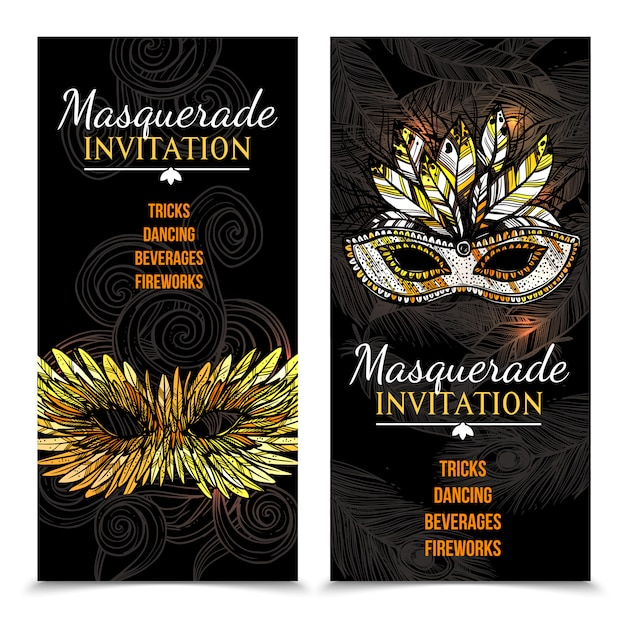 Masquerade carnival banners Gratis Vector