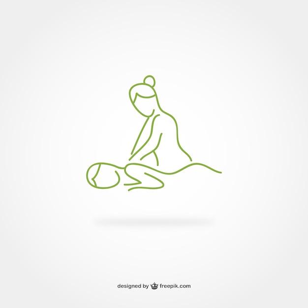 Massage lijntekeningen logo Gratis Vector