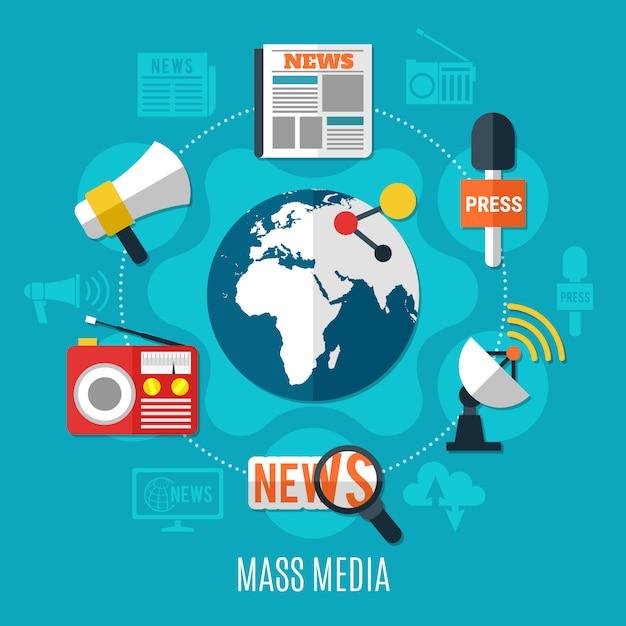 Massamedia ontwerpconcept Gratis Vector