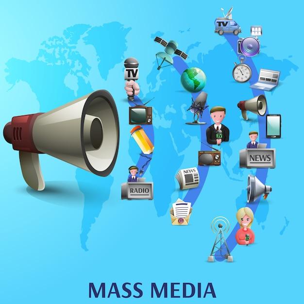 Massamedia-poster Gratis Vector