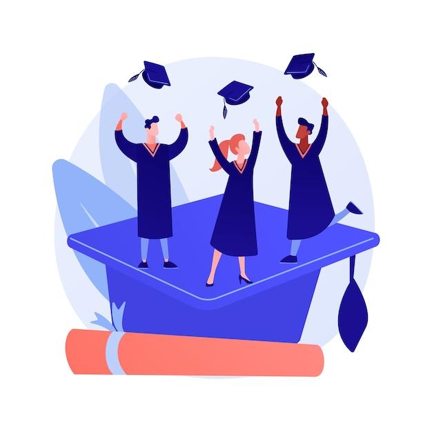 Master diploma behalen. hoger onderwijs, kennisverwerving, universitair afstuderen Gratis Vector