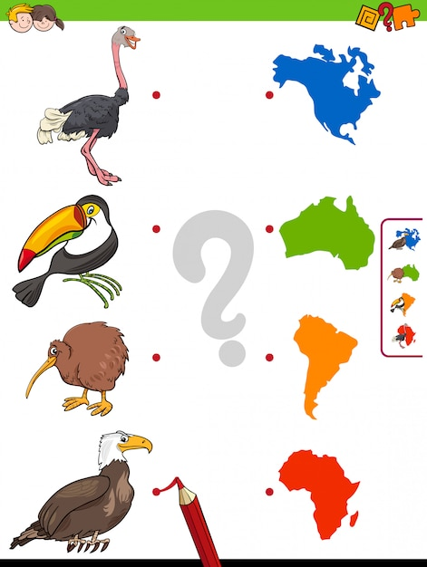 Match dieren en continenten vormen educatief spel Premium Vector