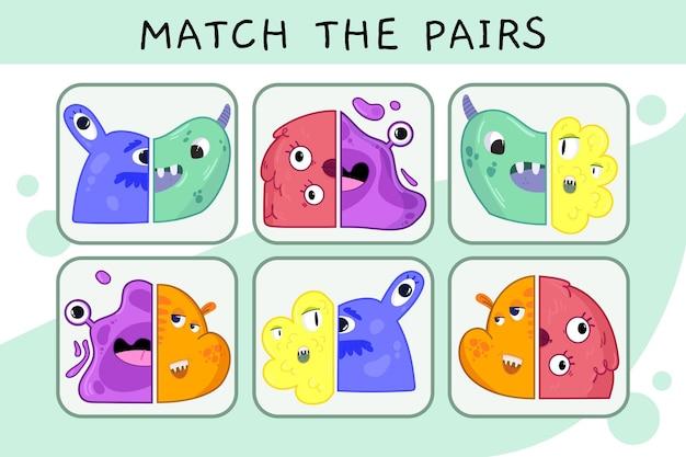 Match game werkblad voor kinderen Gratis Vector
