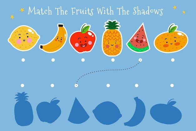 Match spel met fruitillustraties Gratis Vector