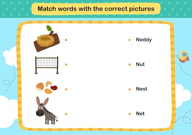 Match woorden met de juiste afbeeldingen illustratie, Premium Vector