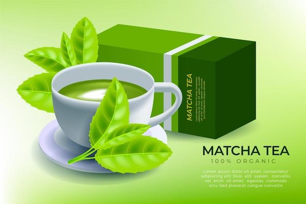 Matcha-thee-advertentie met realistisch ontwerp Gratis Vector
