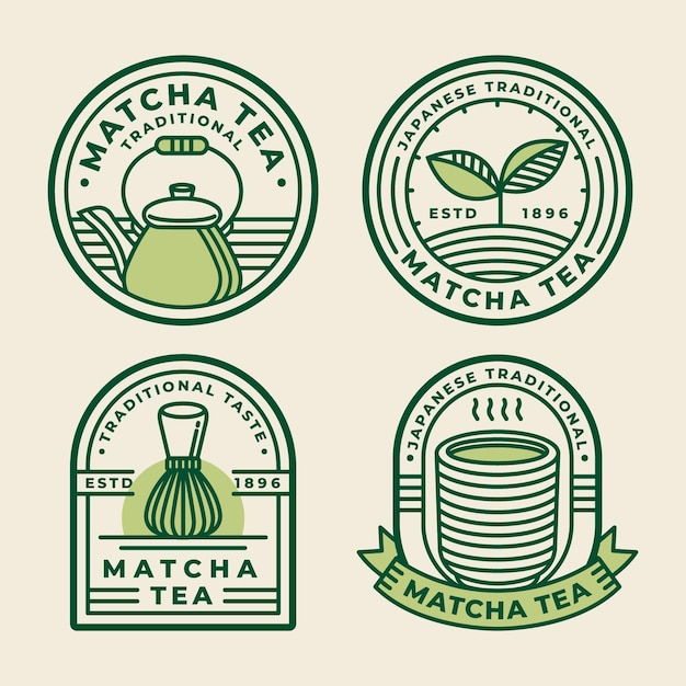 Matcha thee badges concept Gratis Vector