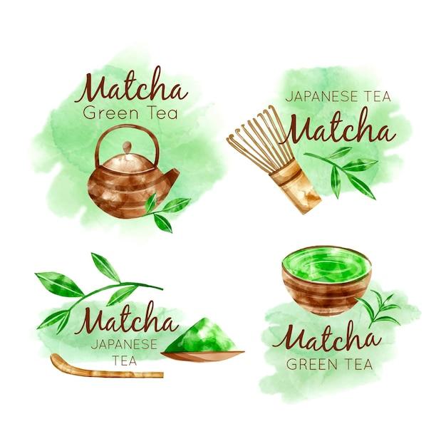 Matcha theebadges collectie Gratis Vector