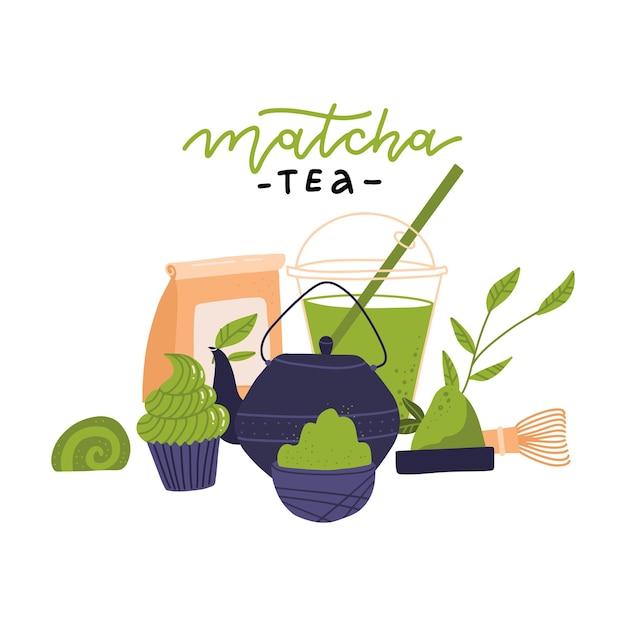 Matcha theeceremonie elementen zijaanzicht japanse groene theeceremonie matcha latte of thee dranken theepot en matcha poeder voorbereiding tools vector illustratie Premium Vector