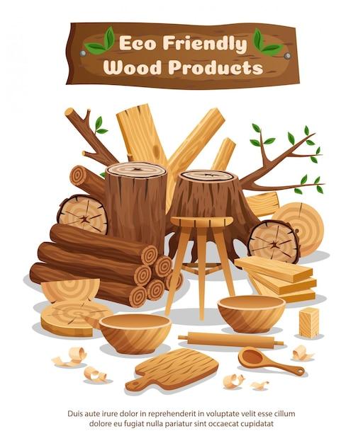Materiaal en producten van de houtindustrieeco reclame samenstelling poster met boomstammen planken kommen lepels Gratis Vector