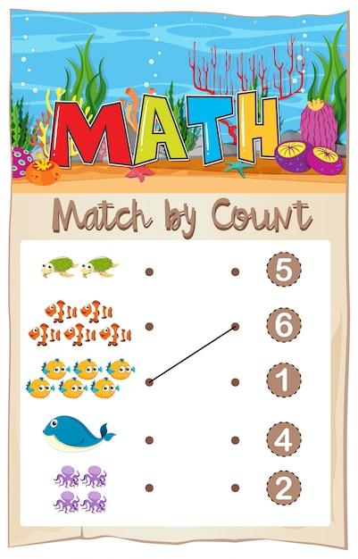 Math-matching-nummer werkblad Premium Vector