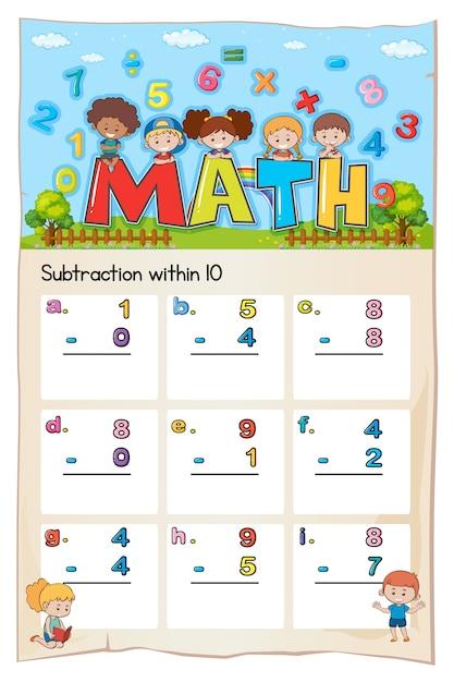 Math-werkblad voor aftrekken binnen tien Gratis Vector