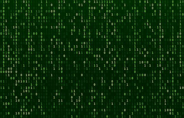 Matrix codestroom. het scherm met groene gegevenscodes, de stroom van binaire getallen en de samenvatting van de rij voor computercodering Premium Vector