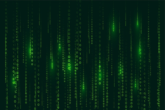 Matrix stijl binaire code digitale achtergrond met dalende cijfers Gratis Vector