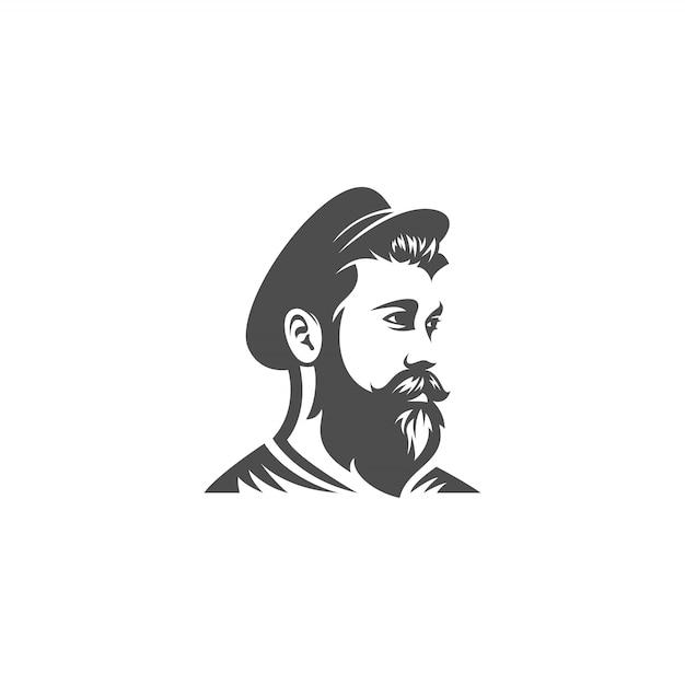 Matroos baard hoofd ontwerp Premium Vector