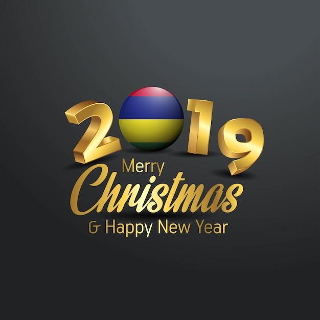 Mauritius vlag 2019 merry christmas typografie Premium Vector