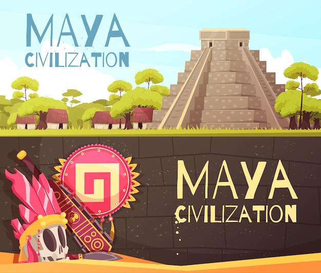 Maya cartoon banners set Gratis Vector