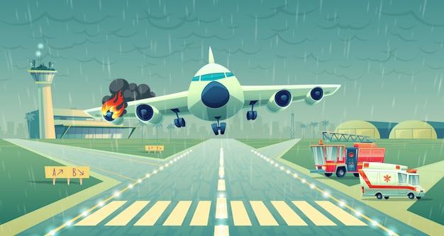 Mayday landing van het vliegtuig op een strook dichtbij terminal. neerstorting van de vlucht bij slecht weer, vleugel Gratis Vector