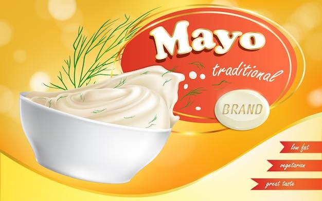 Mayonaise merk in een schaal met een laag vetgehalte. Gratis Vector