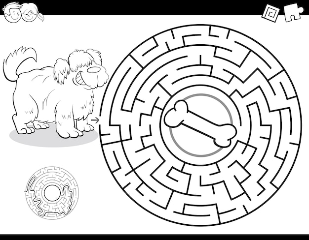 Maze game for kids met dog and bone color book Premium Vector