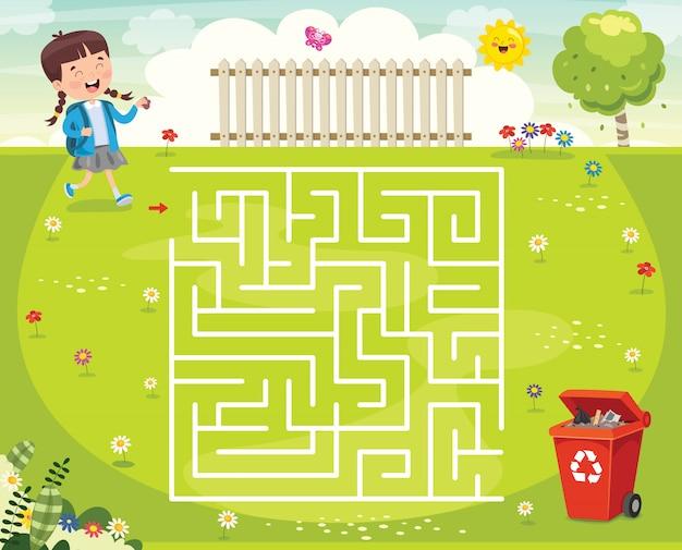 Maze game illustratie voor kinderen Premium Vector