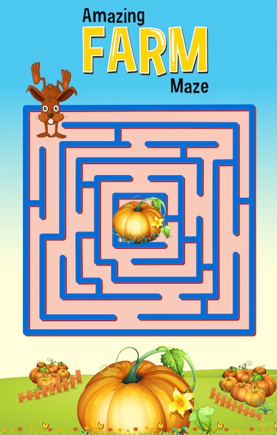 Maze-spelmalplaatje met konijn en pompoenlandbouwbedrijf Gratis Vector