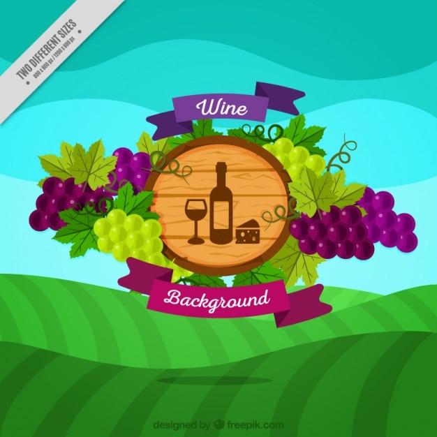 Meadow achtergrond met wijn badge Gratis Vector