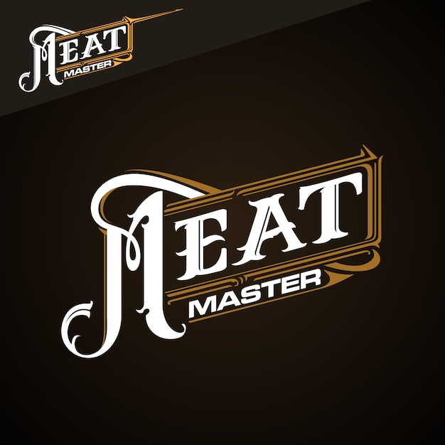 Meat master klassiek logo Premium Vector