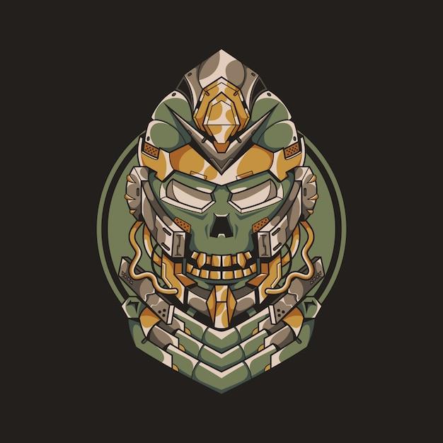 Mecha skull illustratie Premium Vector