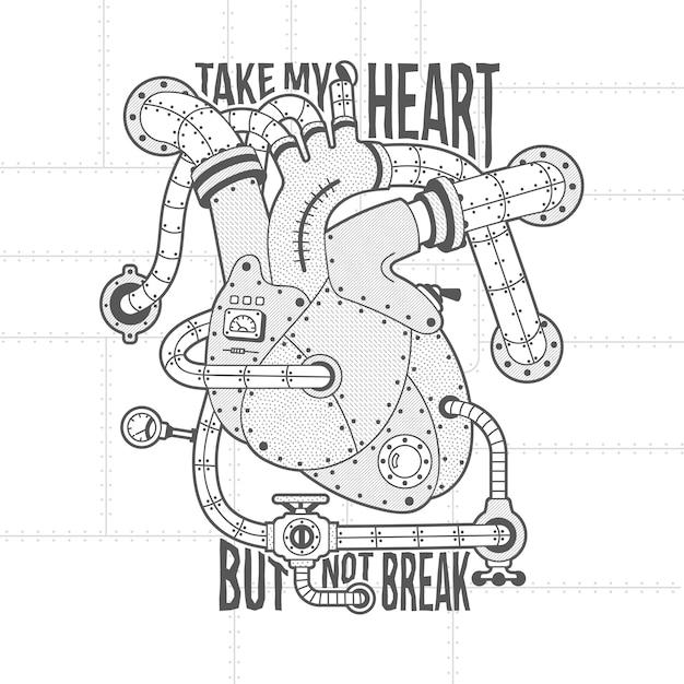 Mechanisch hart afbeelding in steampunk-stijl. hart motor vintage belettering. Premium Vector