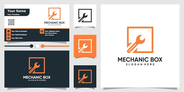 Mechanisch logo met vierkante doos kaderstijl en bedrijf Premium Vector
