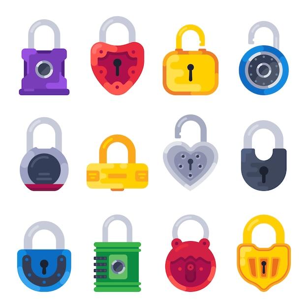 Mechanisch veiligheidsslot. veilig sleutelhangslot, gouden sloten en koperen hangsloten geïsoleerde platte set Premium Vector