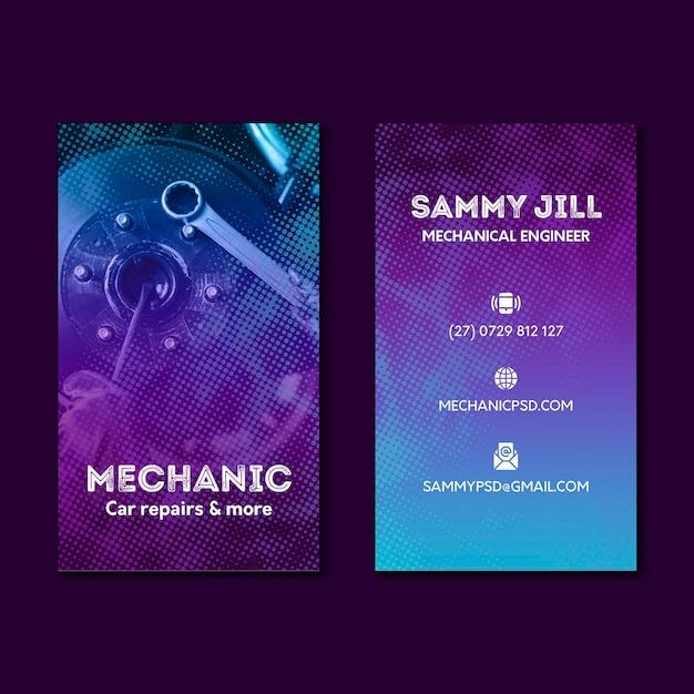 Mechanische autoreparatie tweezijdig visitekaartje Premium Vector