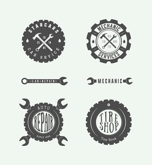 Mechanische embleem en logo. Premium Vector