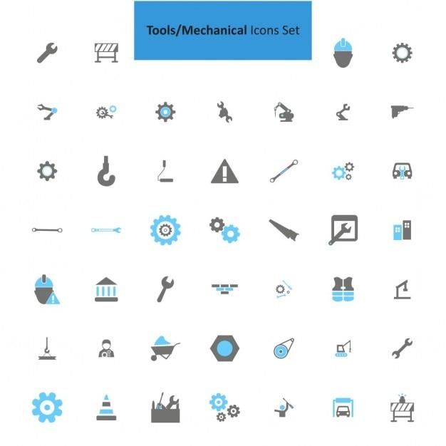 Mechanische hulpmiddelen icon set Gratis Vector