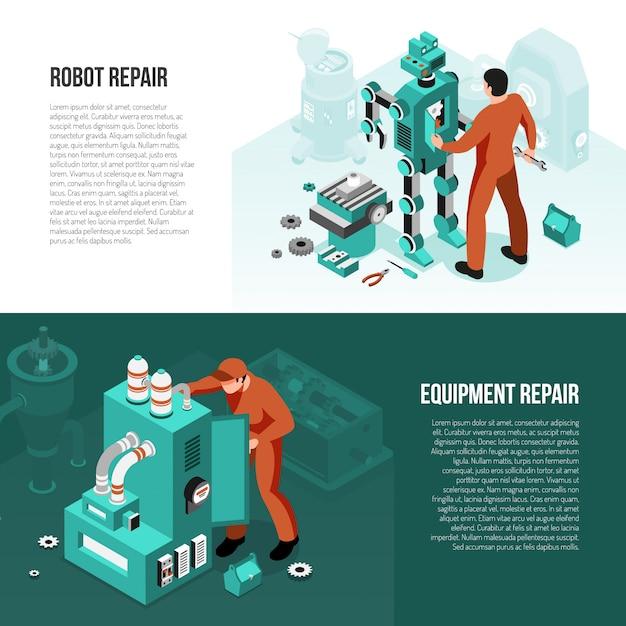 Mechanische reeks isometrische horizontale banners met reparatie van robot en geïsoleerde onderhoudsapparatuur Gratis Vector