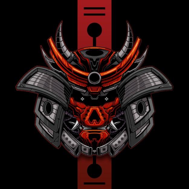 Mechanische samurai hoofd afbeelding sjabloon Premium Vector