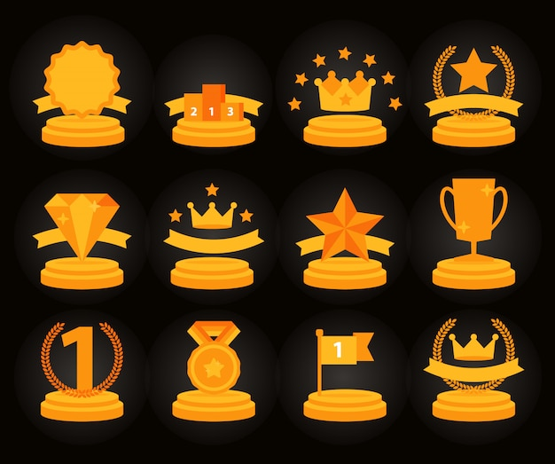 Medaille en winnaar icon set, Premium Vector