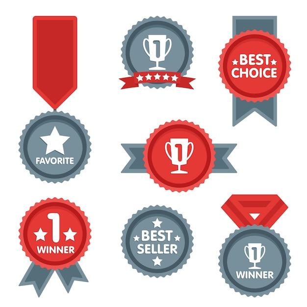 Medaille en winnaar icon set. Premium Vector