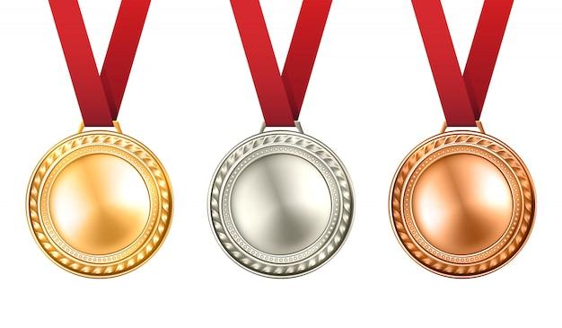 Medailles illustratie instellen Gratis Vector