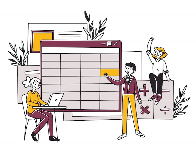 Medewerkers maken bedrijfsboekhoudingsrapport Premium Vector