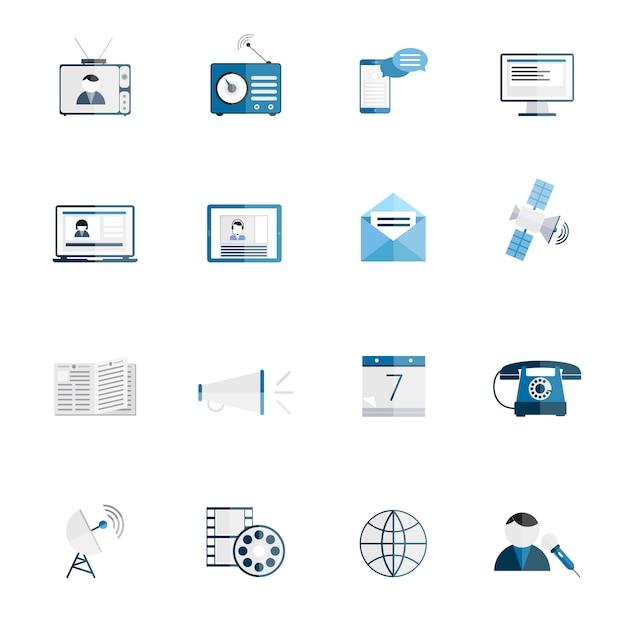 Media communicatie pictogrammen vlakke reeks van tv-radio blog internet nieuws geïsoleerde vectorillustratie Gratis Vector